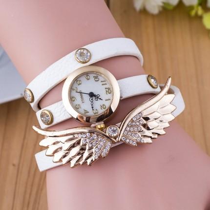 Часы-браслет длинные, наматывающиеся на руку Крылья 101-1 белые