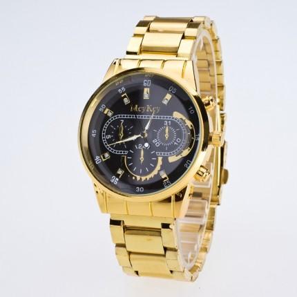 Часы Мужские Mcy Key золотистые 109-2 (реплика Geneva) Черные