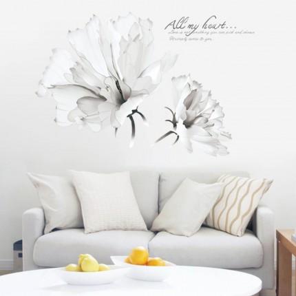 Интерьерная наклейка на стену Белые Цветы AM9202