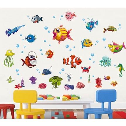 Интерьерная наклейка на стену Детская - Рыбки XH6230