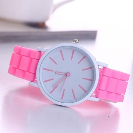 Часы Женева Кварц с силиконовым ремешком Розовые 013-6