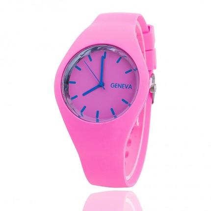 Часы женские Женева Geneva силиконовые розовые 122-2