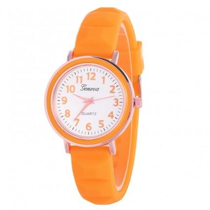 Часы женские Женева Geneva силиконовые оранжевые 123-1