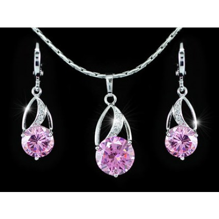 Набор 7.5 Carat Simulated Pink Sapphire 18K Necklace Earrings Set SN264