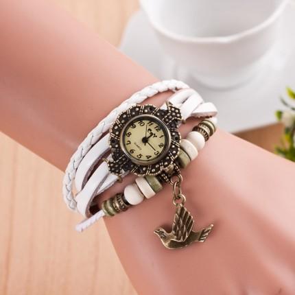 Часы-браслет с подвеской Птица белые