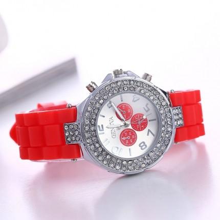 Часы со стразами Geneva Crystal женева Красные 011-5