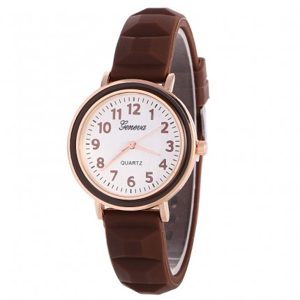 Часы женские Женева Geneva силиконовые Шоколад 123-3