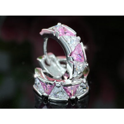 Серьги 2.5 Carat Pink Sapphire CZ Huggie Earrings SE319
