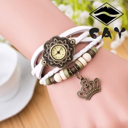 Часы-браслет с подвеской Корона белые