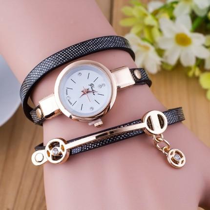 Часы-браслет длинные, наматывающиеся на руку 102-2 черные