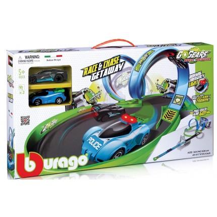 Игровой набор серии GoGears - ПОЛИЦЕЙСКАЯ ПОГОНЯ (трек с 1 дорожкой,2 петли,2 машинки с инерц.мех.) от Bburago - под заказ