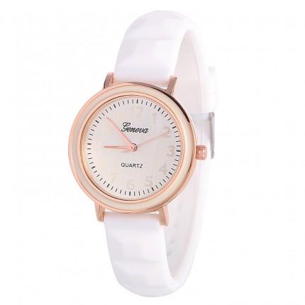 Часы женские Женева Geneva силиконовые белые 123-5