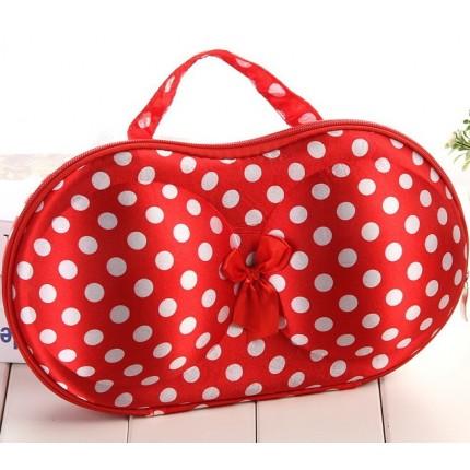 Органайзер - сумочка для бюстгальтеров (с сеточкой) красный в горошек