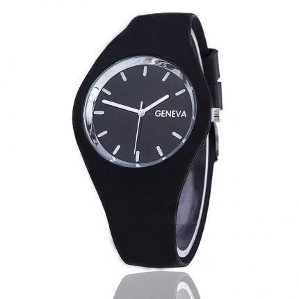 Часы женские Женева Geneva силиконовые черные 122-7