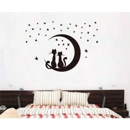 Интерьерная наклейка на стену Коты Парочка JM8256