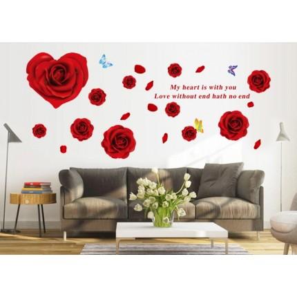 Интерьерная наклейка на стену Розы AY9181