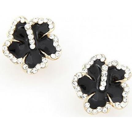 Серьги Black Flower с кристаллами Preciosa (tb357)