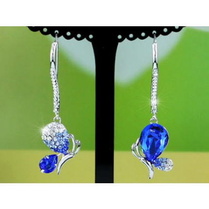 Серьги Blue CZ Stone Butterfly Earrings use Swarovski Crystal SE379
