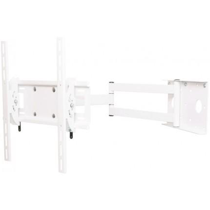 кронштейн Квадо К-55 белый. Наклонно-поворотное (2 колена) настенное крепление для ТВ с VESA до 400х400мм