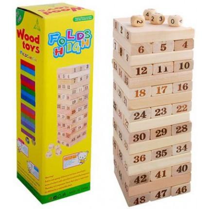 Игра настольная - Дженга (48 брусков) с кубиками