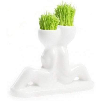 Травянчик керамический двойной белый. Спина к спине