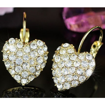 Серьги Gold Plate Heart Earrings use Swarovski Crystal SE103
