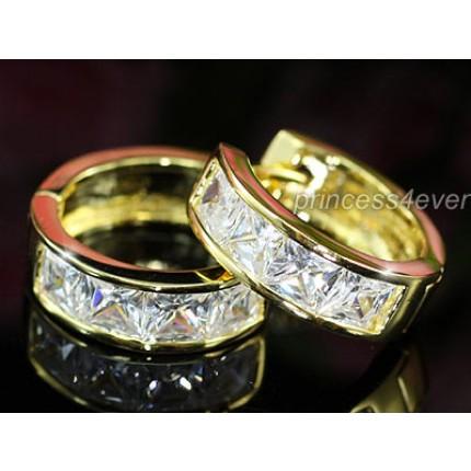 Серьги 1.5 Carat Simulated Diamond Huggie Gold Earrings SE316