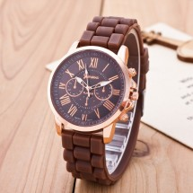 Часы Женева Geneva Римские цифры силиконовый ремешок Шоколад 147-1