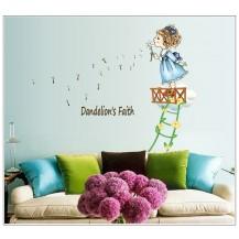 Детская интерьерная наклейка на стену Девочка с одуванчиком AY7196