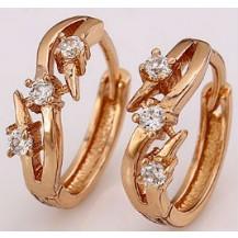 Серьги колечки с цирконами позолота gold filled (gf573