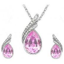 Набор с австрийскими кристаллами Pink, позолота (ab89)