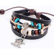 Кожаный браслет с подвеской черепок (tb689)