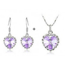 Набор Сердце, австрийски кристаллы (ab95) Цвет светло-лавандовый