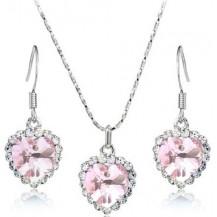 Набор Сердце, австрийски кристаллы (ab96) Цвет бледно-розовый