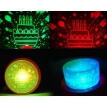 Проектор + электронная свеча (2в1) Happy Birthday