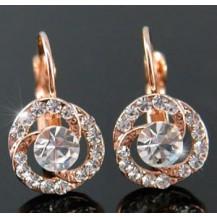 Серьги Rose Gold Plated Rose Earrings use Swarovski Crystal SE089
