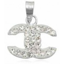 Серебряная подвеска кулон Chanel кристаллы Swarovski