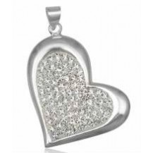 Серебряный кулон подвеска Сердце кристаллы Swarovski TN979