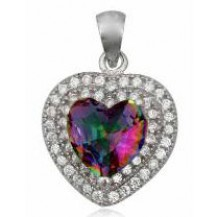 Серебряный кулон Сердце с мистик-топазом и цирконами, родирован TN980