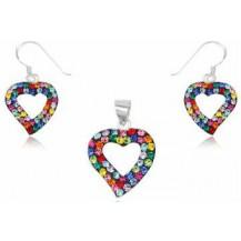 Серебряный набор Сердечки с кристаллами Swarovski (TN985)