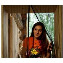 Антимоскитная сетка штора на дверь на магнитах Magic mesh с рисунком (210х90). Розовая