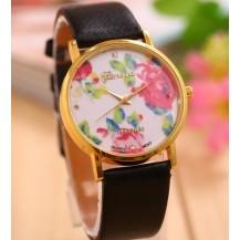 Часы наручные женские Женева Цветы черный ремешок