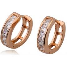 Серьги колечки, цирконы, позолота Gold Filled (GF103)