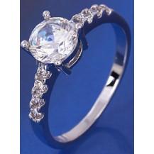 Кольцо белая позолота, цирконы (GF88) размер 18