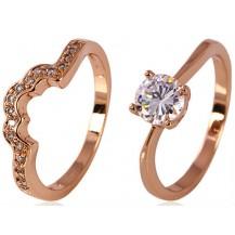 Кольцо позолота Gold Filled, цирконы (GF79) размер двойное 18