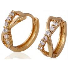Серьги колечки Переплетение с цирконами позолота Gold Filled (GF113)