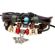 Кожаный браслет с подвеской Бабочка (tb875)