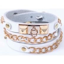 Кожаный браслет с золотыми вставками,белый (tb877)