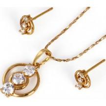 Набор серьги, кулон, цепочка позолота Gold Filled (GF243)