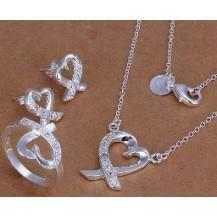 Набор Tiffany 925 (серьги 2 пары, кольцо 18р) TF96